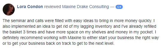 maxine drake consulting - lora condon testimonial
